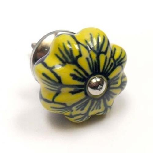 Bouton De Meuble Fleur Porcelaine Blanche Rose Jaune