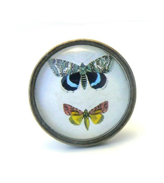 Bouton De Meuble Butterfly Papillon Bleu Et Jaune