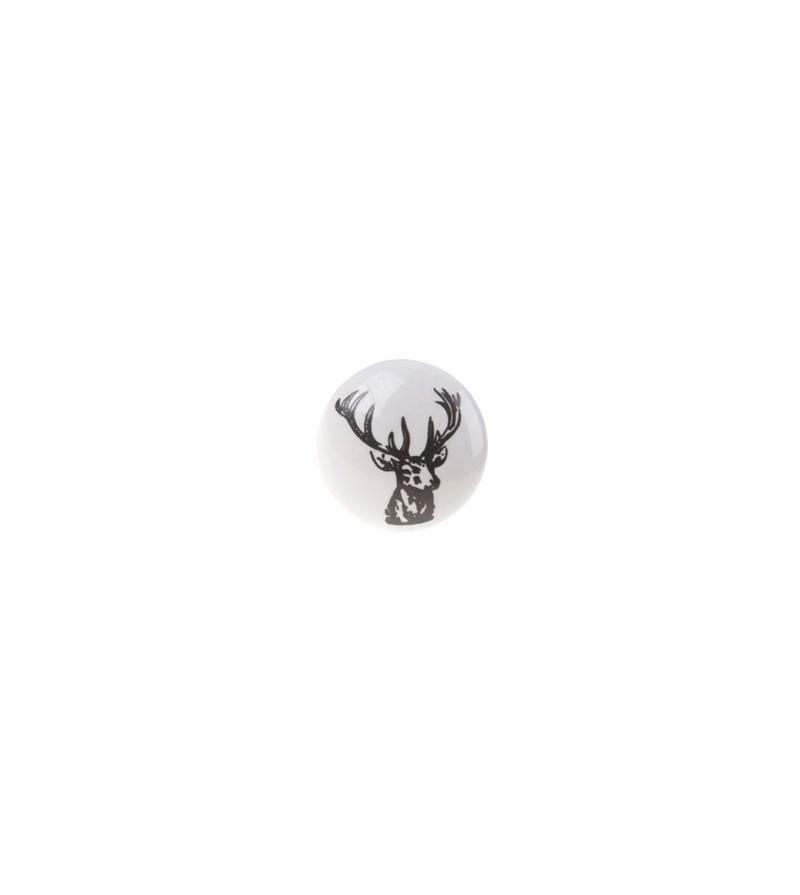 Bouton De Meuble Vintage Cerf En Porcelaine Boutons