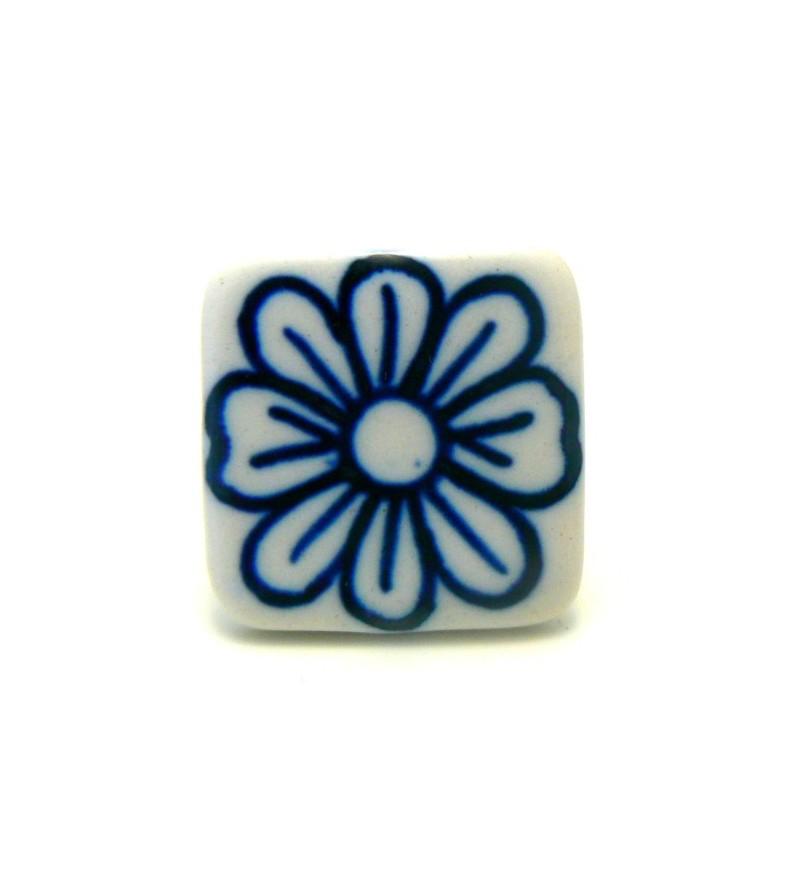 Bouton de meuble milos motif fleur sur porcelaine carr for Bouton poussoir meuble