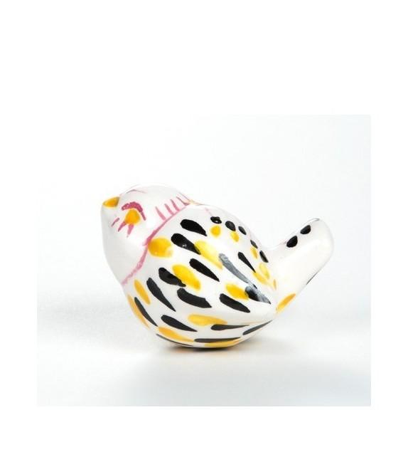 bouton de meuble bel oiseau jaune porcelaine blanche. Black Bedroom Furniture Sets. Home Design Ideas