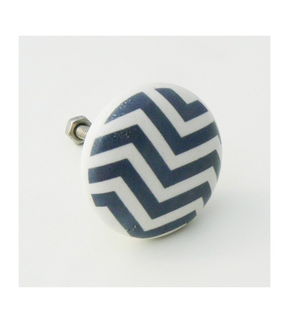 bouton de meuble chevron gris porcelaine. Black Bedroom Furniture Sets. Home Design Ideas