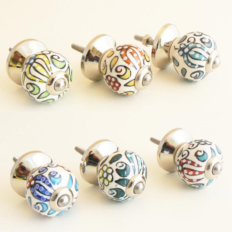 Boutons de porte hindi exotique en porcelaine 6 couleurs for Bouton de porte en ceramique