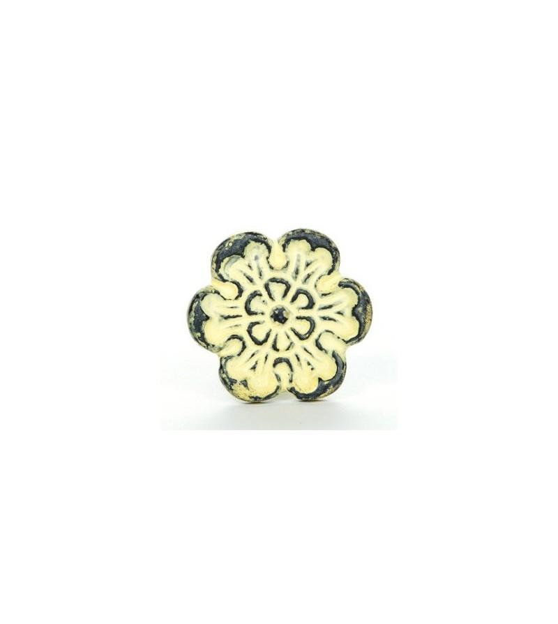 Bouton De Meuble Patine Fleur Fonte Jaune Vintage