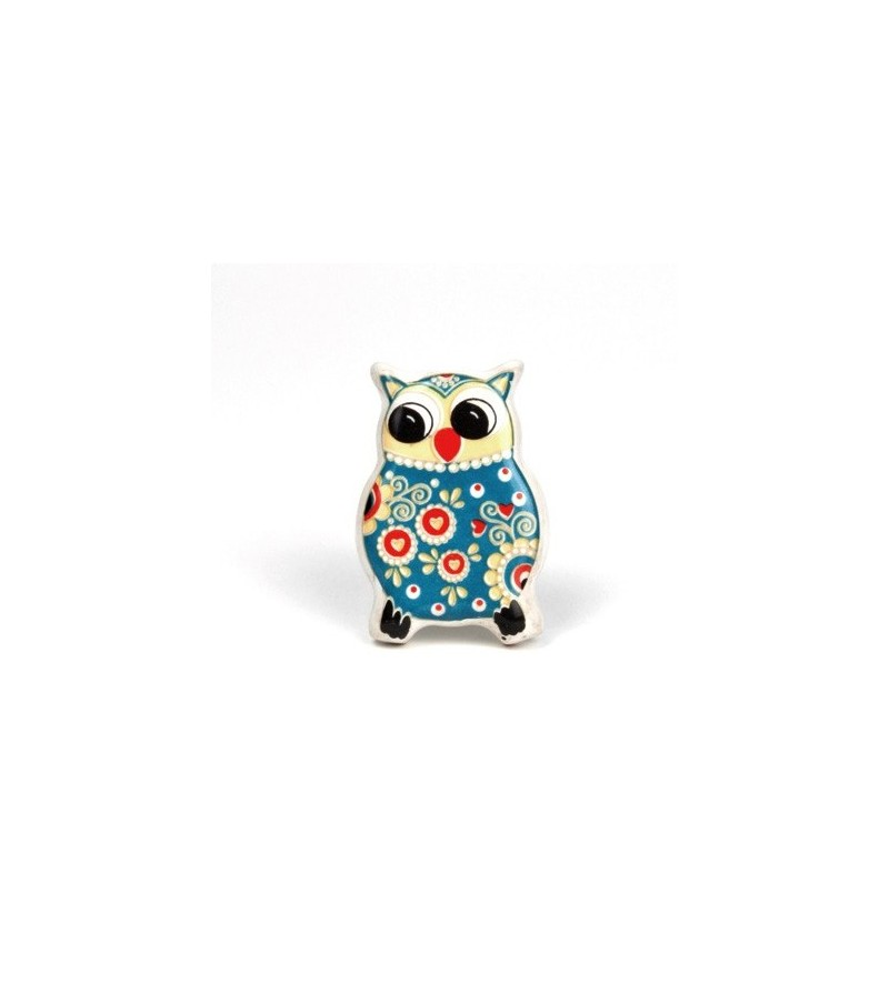 bouton de meuble dr le de hibou bleu en porcelaine boutons. Black Bedroom Furniture Sets. Home Design Ideas