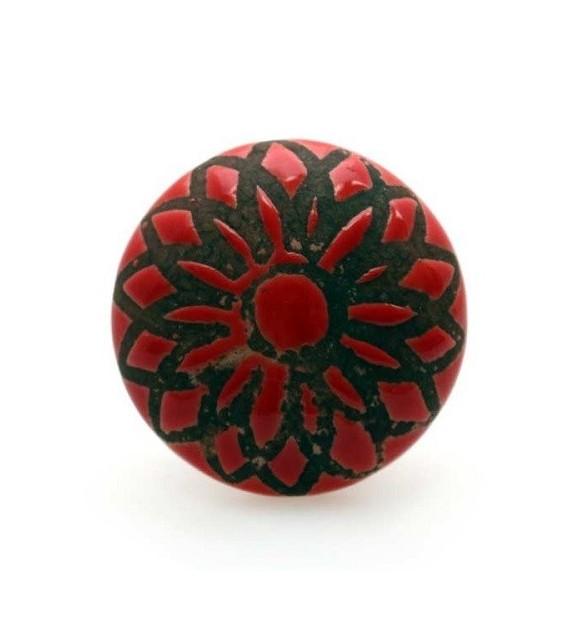 Bouton De Meuble Rosace Rouge En Porcelaine Boutons