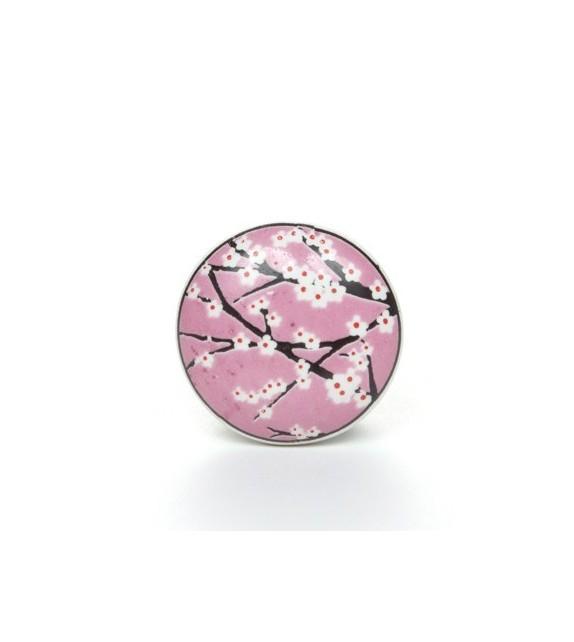 Bouton de meuble cerisier en fleur en porcelaine boutons - Bouton de meuble porcelaine ...