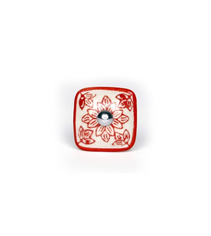 Bouton de meuble g ranium carr en porcelaine boutons for Bouton de meuble de cuisine