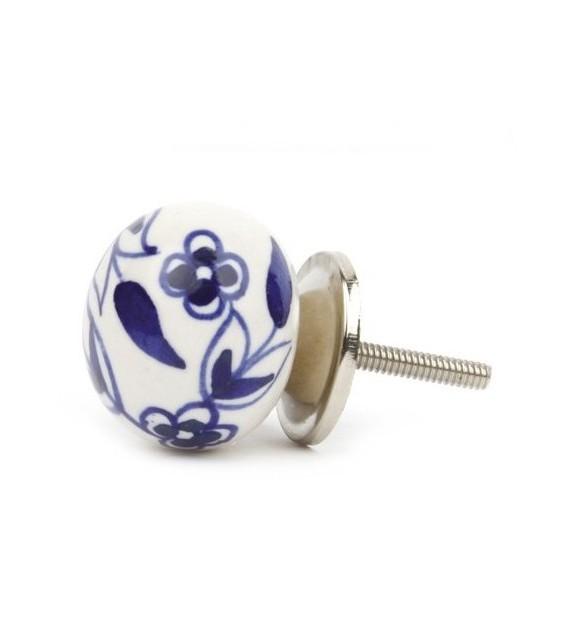 bouton de porte floral porcelaine blanche boutons. Black Bedroom Furniture Sets. Home Design Ideas
