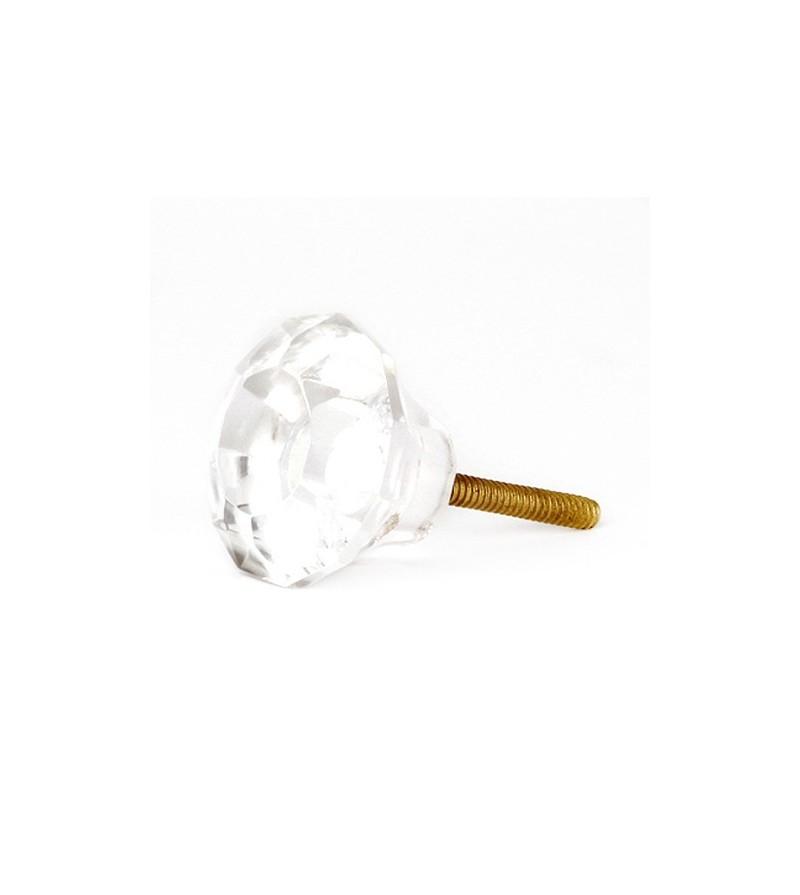 Bouton de meuble shabby transparent en verre boutons for Combouton de porte cuisine