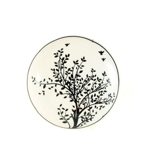 Bouton de meuble en porcelaine décor Arbre