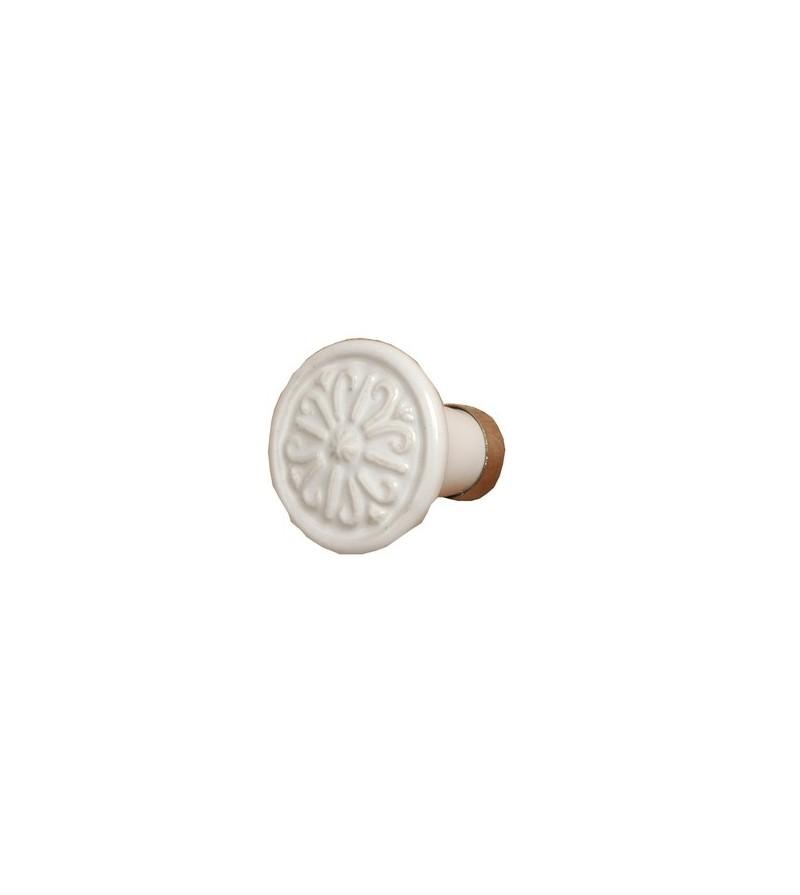 Bouton de porte villa rond en c ramique blanche for Bouton de porte en ceramique