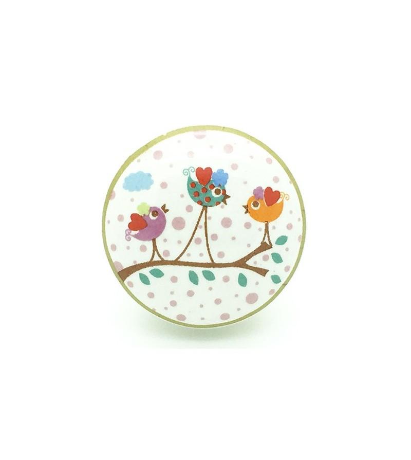 Bouton de meuble enchant petits oiseaux en porcelaine - Bouton de commode ...