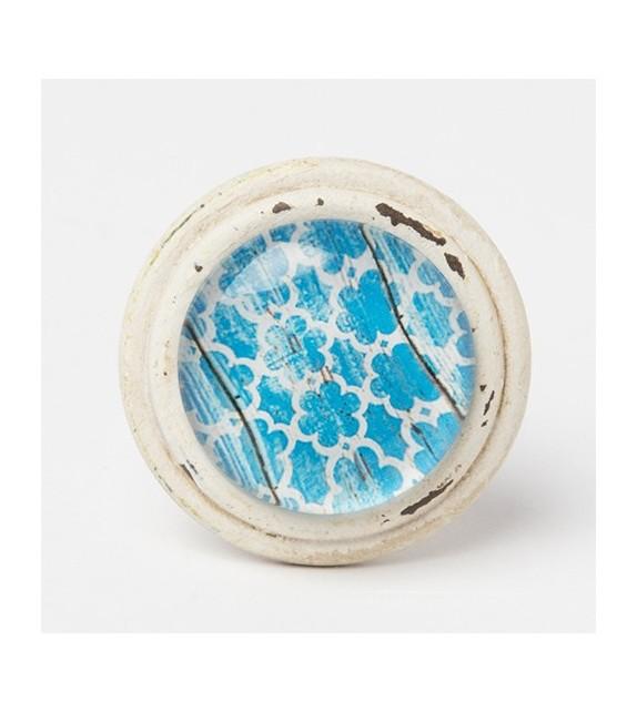 Bouton de meuble Essaouira cabochon - bleu