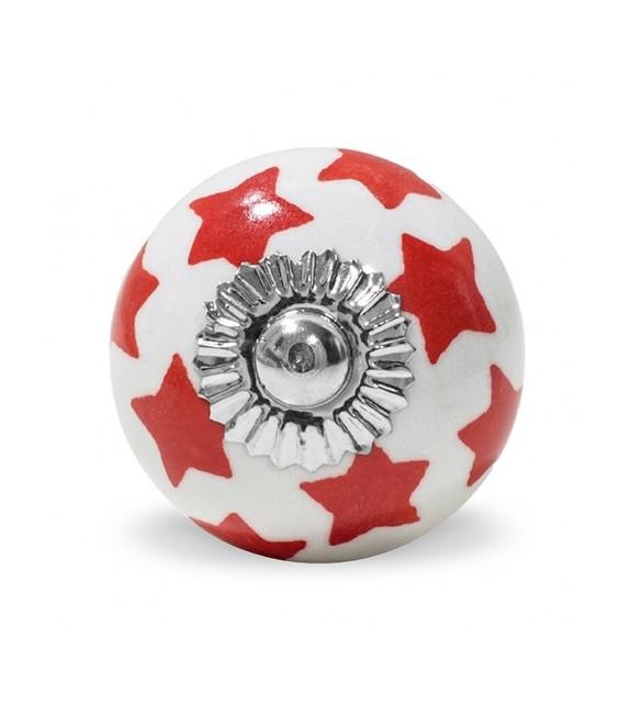 bouton de meuble motif etoile color e en porcelaine blanche boutons. Black Bedroom Furniture Sets. Home Design Ideas