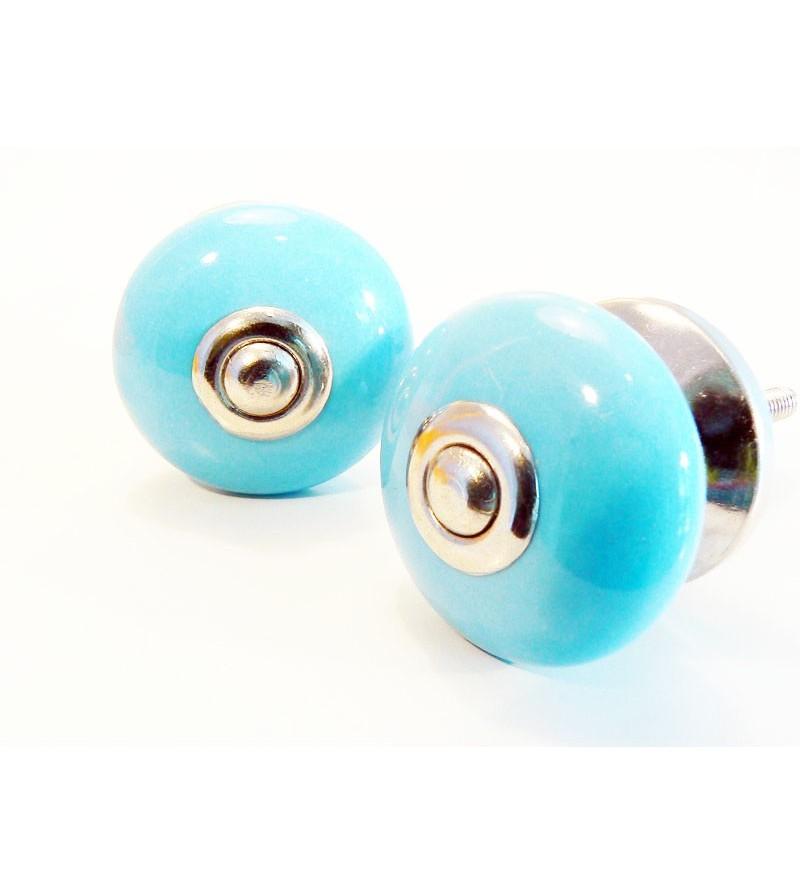 bouton de porte deco bleu uni en c ramique boutons. Black Bedroom Furniture Sets. Home Design Ideas