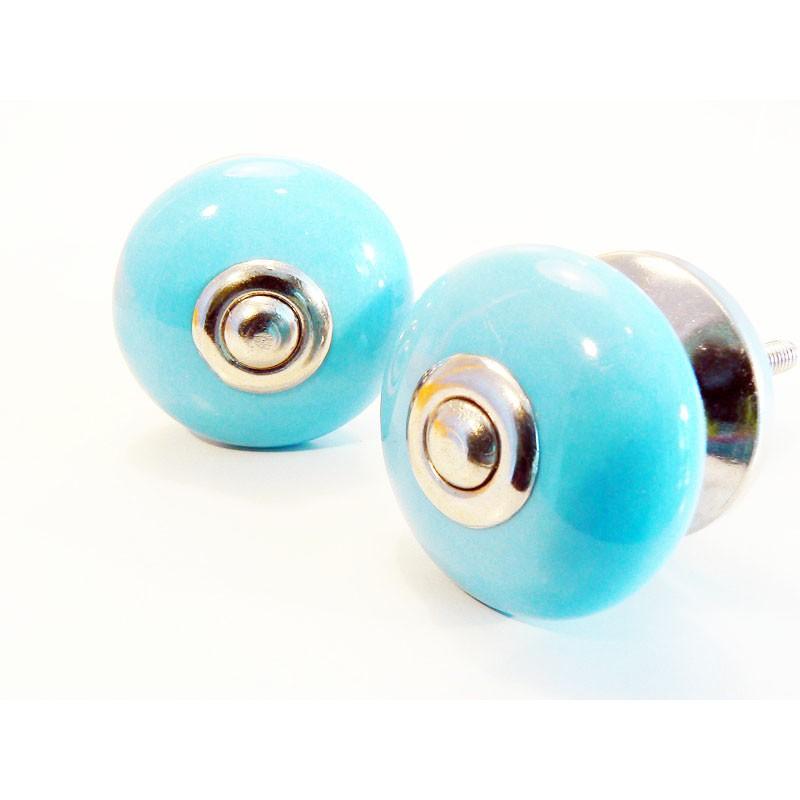 Bouton de porte deco bleu uni en c ramique boutons for Bouton de porte en ceramique
