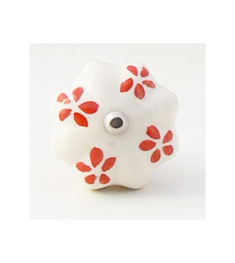 Bouton de porte fany c ramique blanche et p tales rouges for Bouton de porte en ceramique