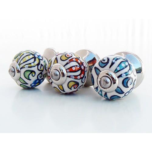 Boutons de porte hindi exotique en porcelaine 6 couleurs boutons - Bouton en porcelaine pour meuble ...