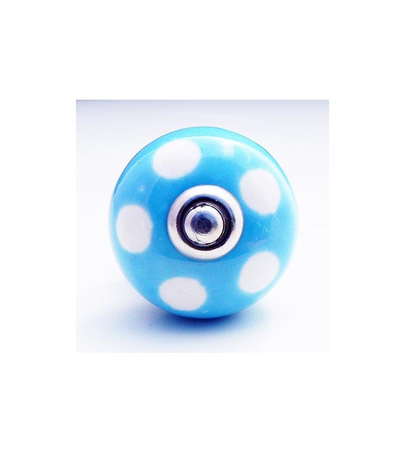 Bouton de porte lola c ramique bleue pois blancs 4 cm for Bouton de porte en ceramique