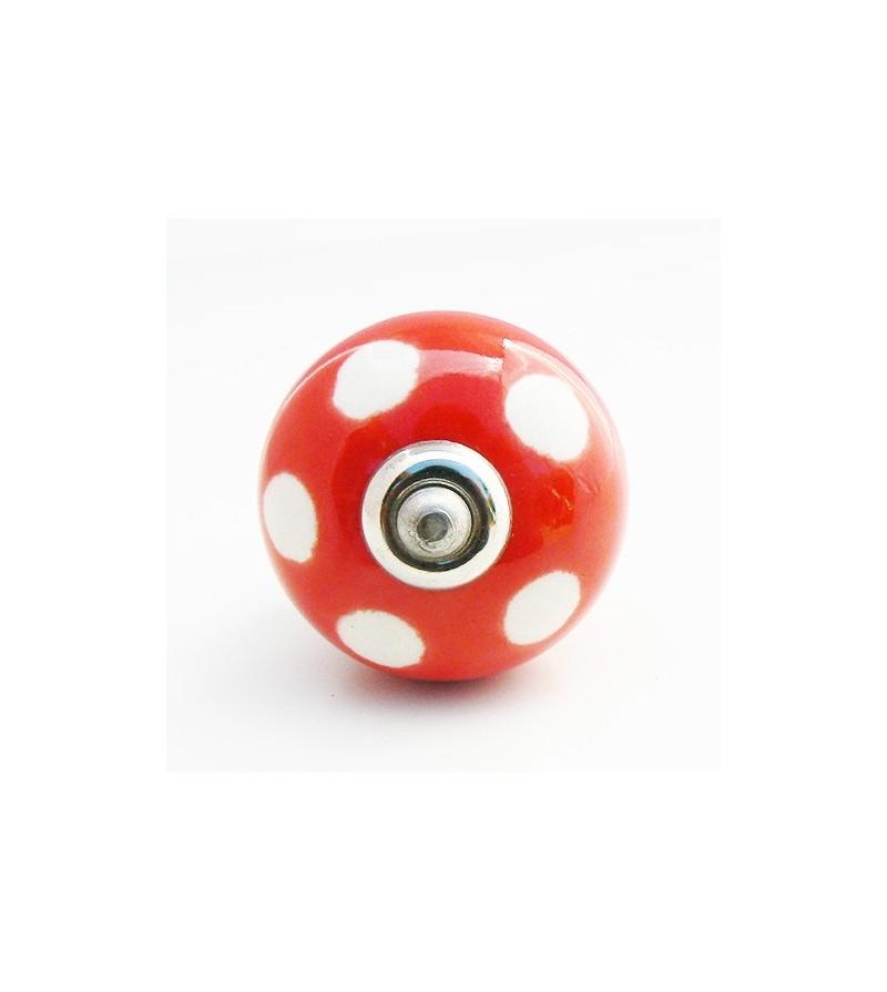 Bouton de porte lola c ramique rouge pois blancs 4 cm for Bouton de porte en ceramique