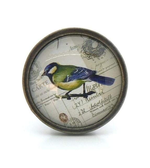 Bouton de meuble Oiseau bleu - Collection Vintage