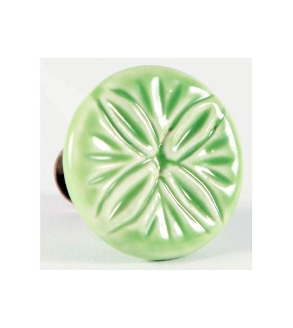 Bouton de meuble Villa, rond en céramique vert - Boutons Mandarine