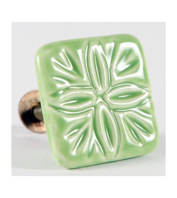 Bouton de meuble Villa, carré en céramique vert
