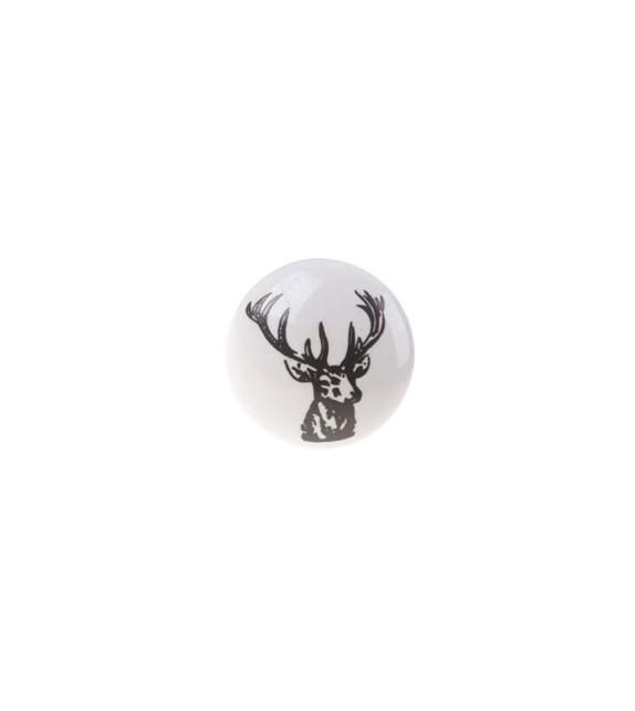 Bouton de meuble Cerf en porcelaine