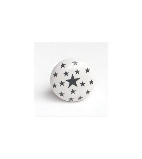 Bouton de meuble étoiles grises, porcelaine blanche