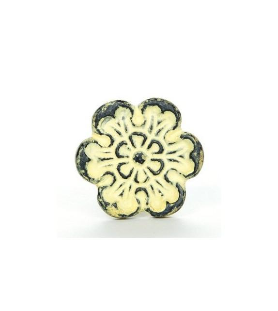 Bouton de meuble Patine fleur - fonte jaune - Vintage