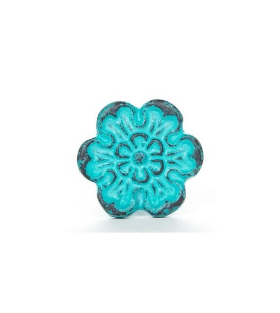 bouton de meuble patine fleur fonte bleue vintage. Black Bedroom Furniture Sets. Home Design Ideas