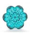 Bouton de meuble Patine fleur - fonte bleue - Vintage