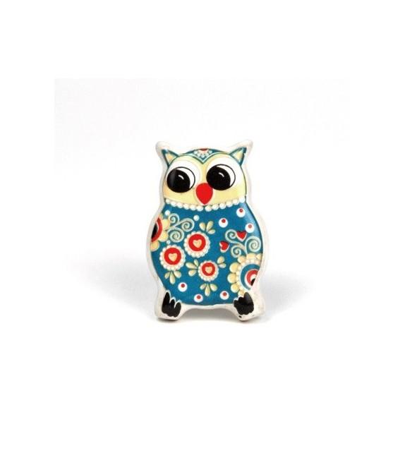 Bouton de meuble drôle de  Hibou bleu en porcelaine