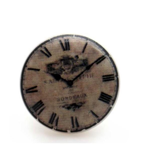 Bouton de meuble impression horloge en porcelaine