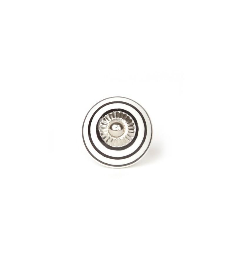 Bouton de meuble blanc ray en porcelaine boutons - Bouton de meuble porcelaine ...
