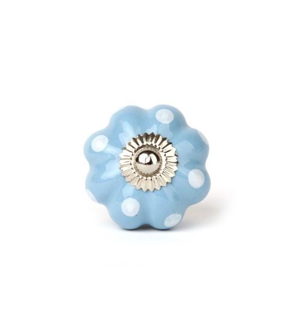 Bouton de meuble Lilly forme citrouille à pois - 5 couleurs disponibles