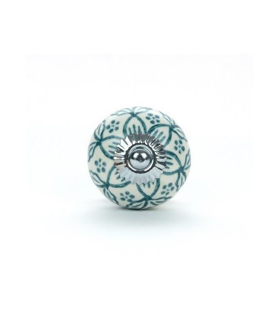 Bouton de meuble Géranium rond en porcelaine - 4 couleurs