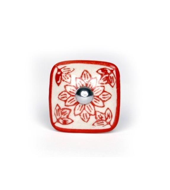 Bouton de meuble Géranium carré en porcelaine -  3 couleurs