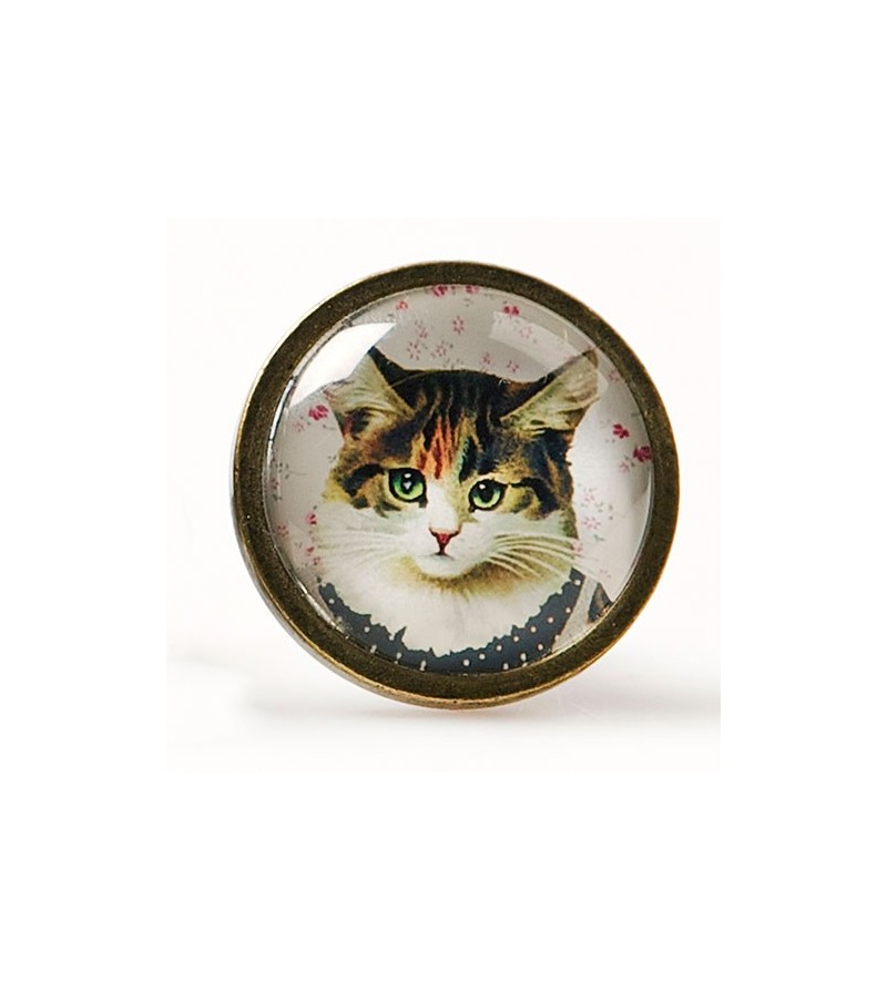 Bouton De Meuble Vintage Chat En Robe Cat Dress