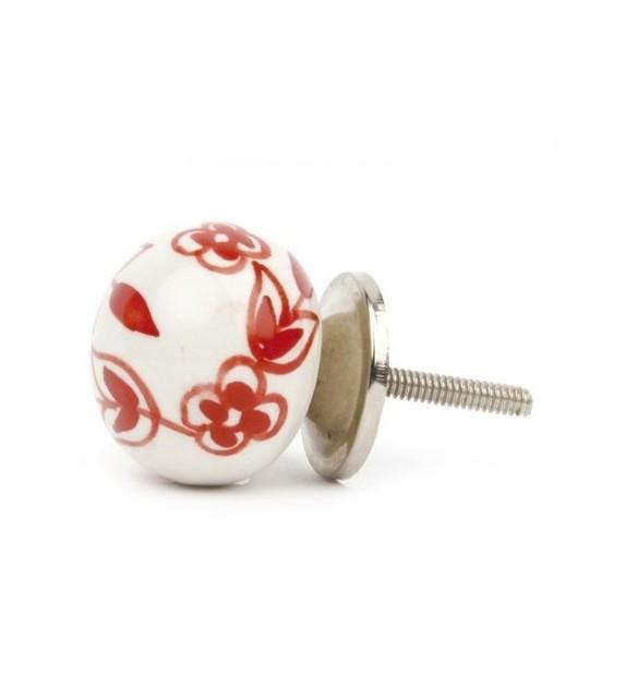 Bouton de meuble Floral porcelaine blanche