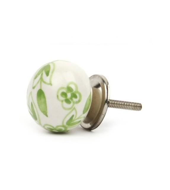 Bouton de meuble Floral porcelaine blanche - Boutons Mandarine