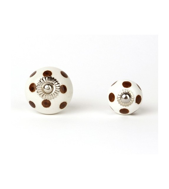Bouton de meuble à pois en porcelaine blanche