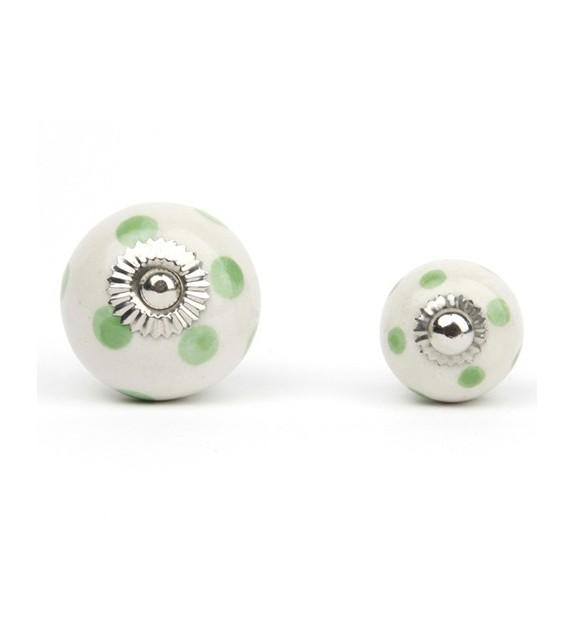 Bouton de meuble à pois en porcelaine blanche - Boutons Mandarine