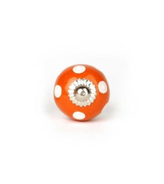 Bouton de meuble à pois blancs et porcelaine colorée - Boutons Mandarine