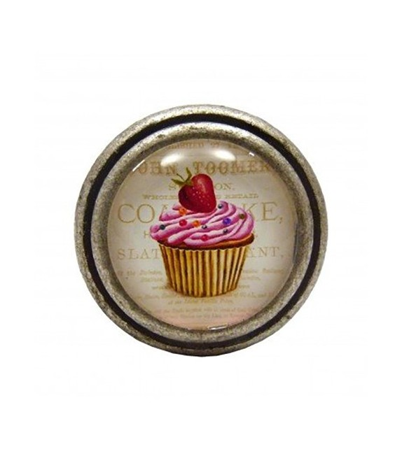 Bouton de meuble Cupcake Rose à la Fraise