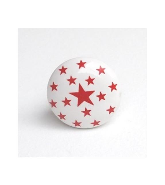 Bouton de meuble étoiles en porcelaine blanche - Boutons Mandarine