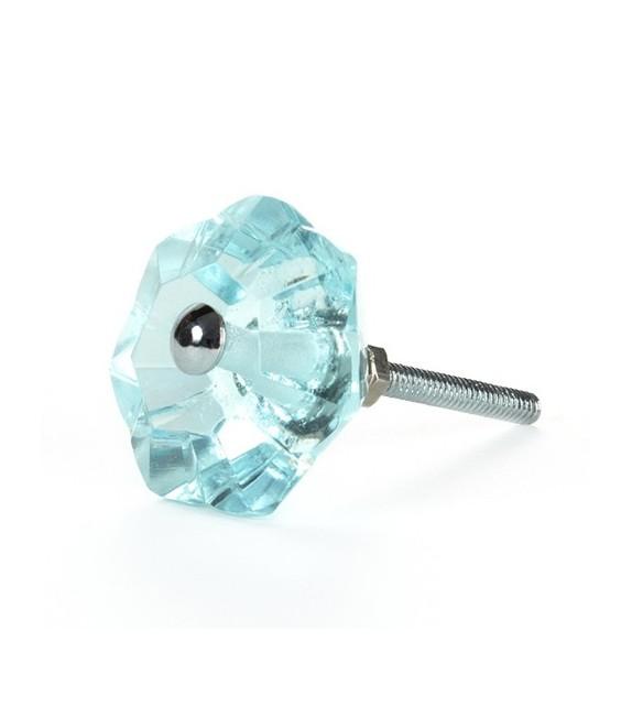 Bouton de meuble Diamant transparent en verre