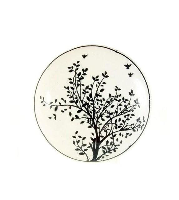 Bouton de meuble en porcelaine décor Arbre - Boutons Mandarine
