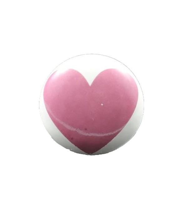 Bouton de meuble impression coeur en porcelaine